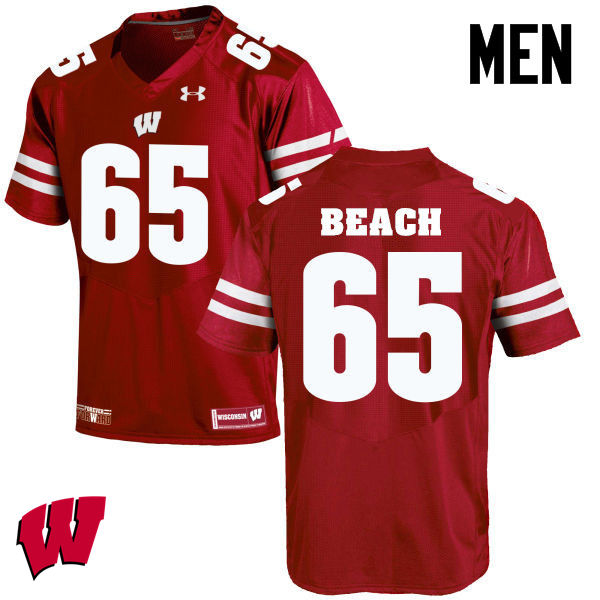 Men Winsconsin Badgers #65 Tyler Beach College Football Jerseys-Red